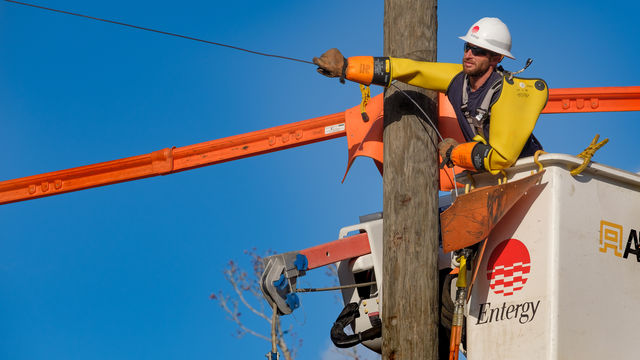 Entergy Arkansas Lineman Aaron Hearnsberger of Magnolia maintains the system. (File photo)