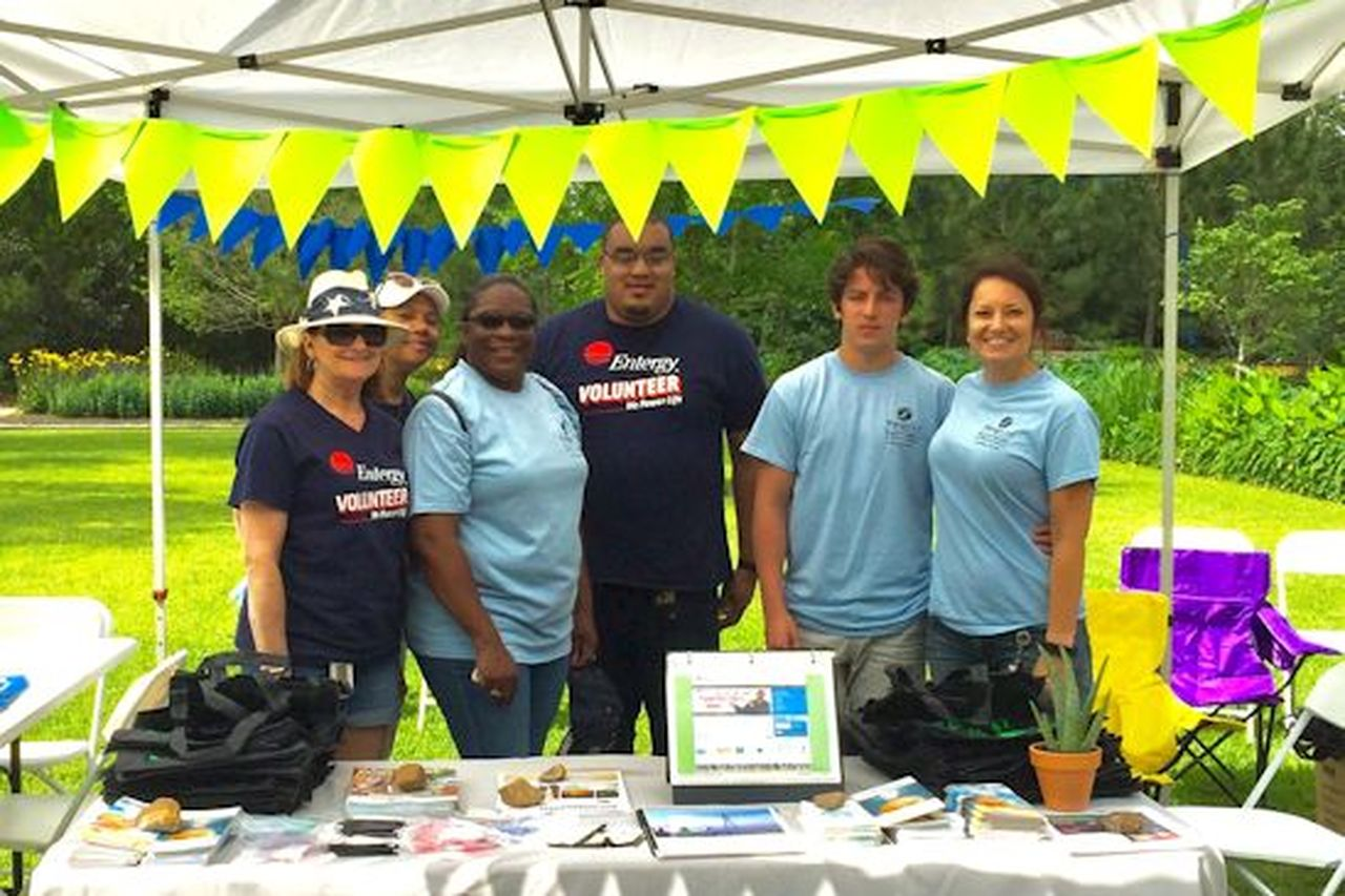 Manning the Entergy booth on Earth Day was (from left) Cheryl Ellis, Terrell LeDay, Monica (Thomas) Malveaux, Derrick Marshall, Grant Richardson and Andrea Richardson.