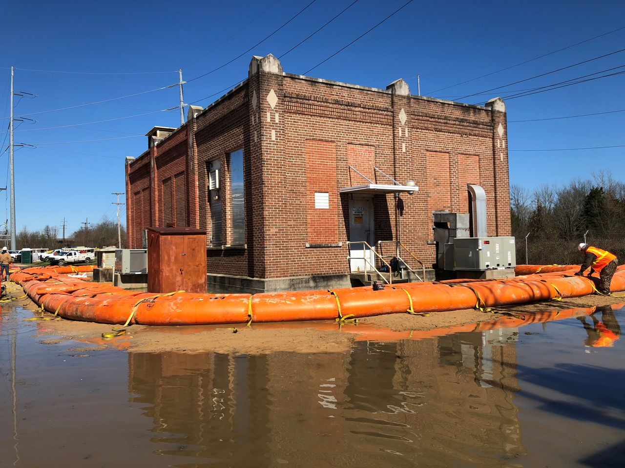 Crews built a tiger dam around the control house at the south Jackson substation to mitigate flooding issues. The substation has been de-entergized.