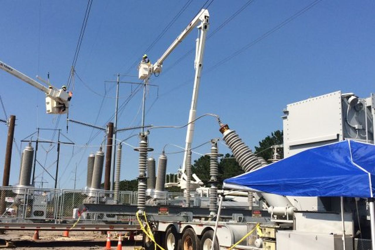 Repair work was safely accomplished at the Cleco substation  near Bevil Oaks.
