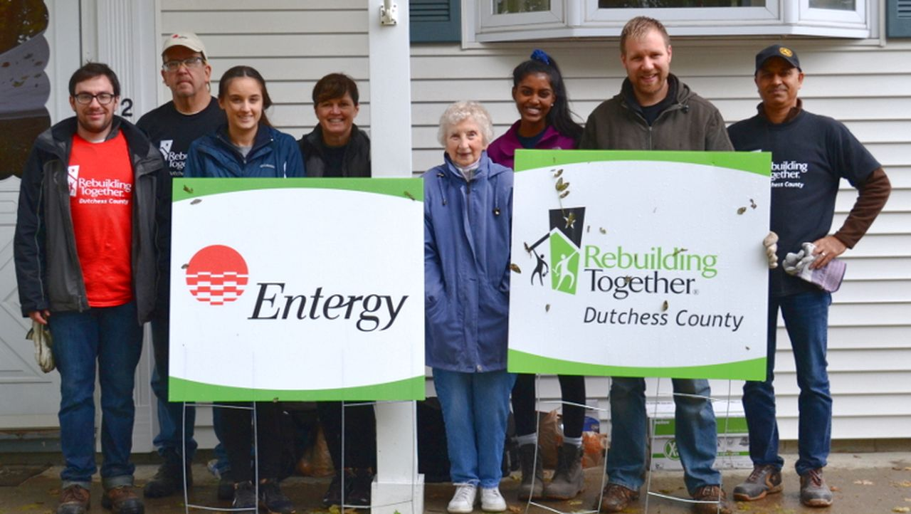 Indian Point Station volunteers gathered for a photo after completing a home-improvement project for a Dutchess County resident.