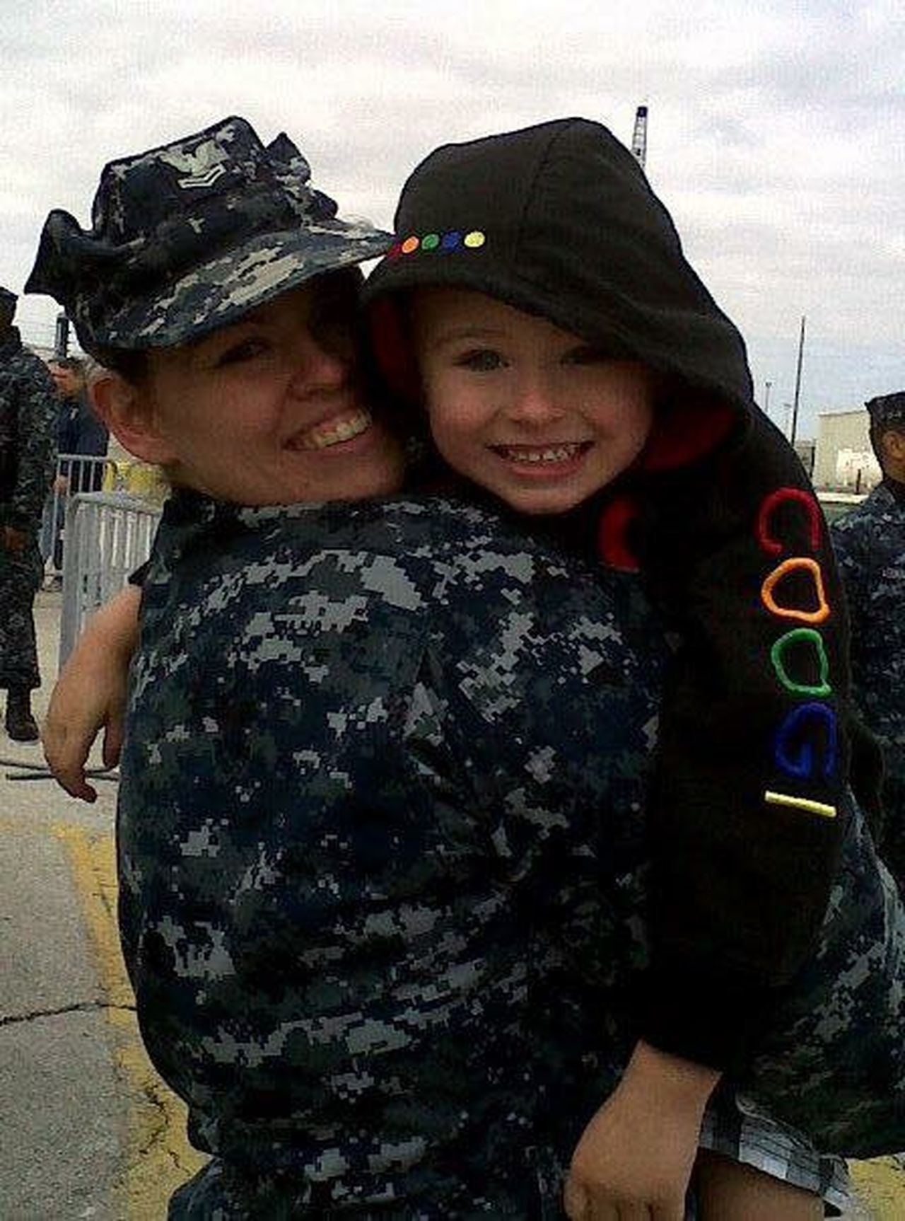 Rodriguez with her nephew during her  2011 deployment aboard the USS George H.W. Bush (CVN 77).