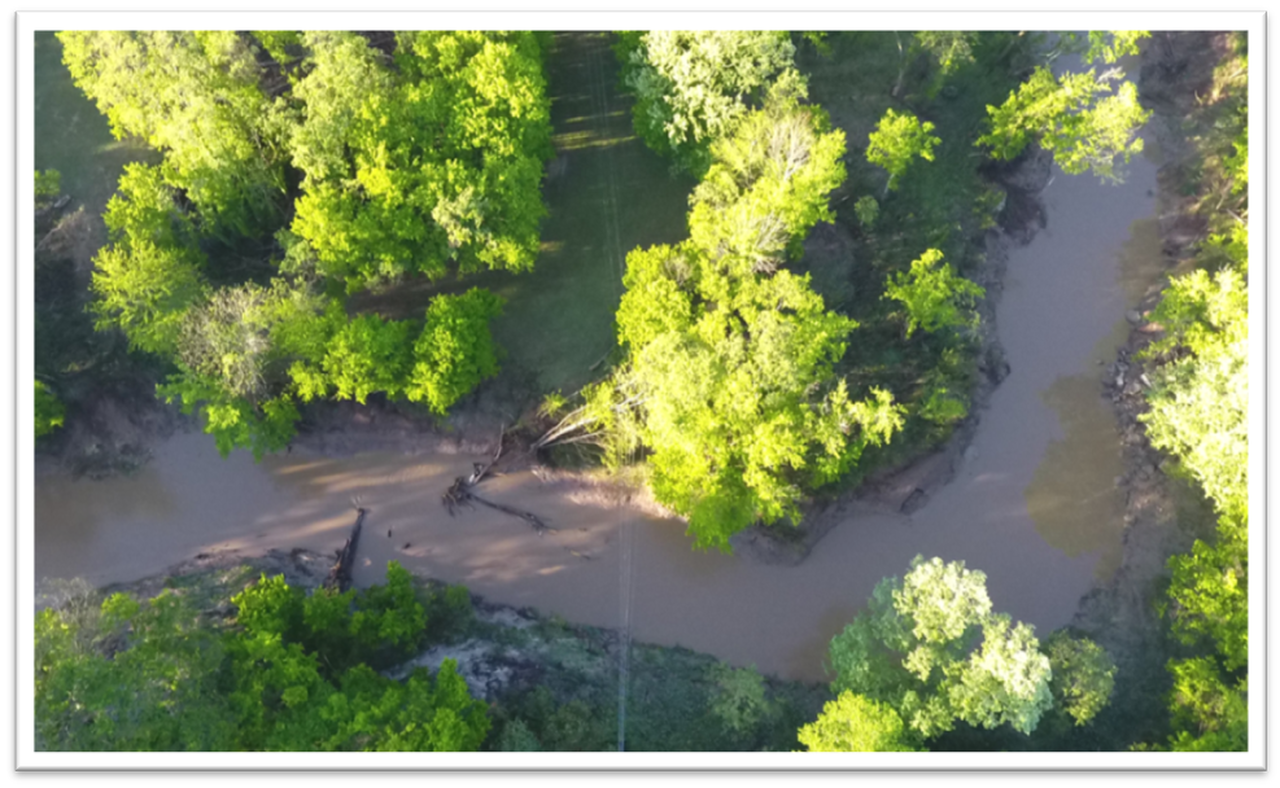 An aerial photo from a drone shows a large tree leaning on a distribution line in a flooded area. The images allowed Entergy to develop a plan to enter the area safely and remove the tree.