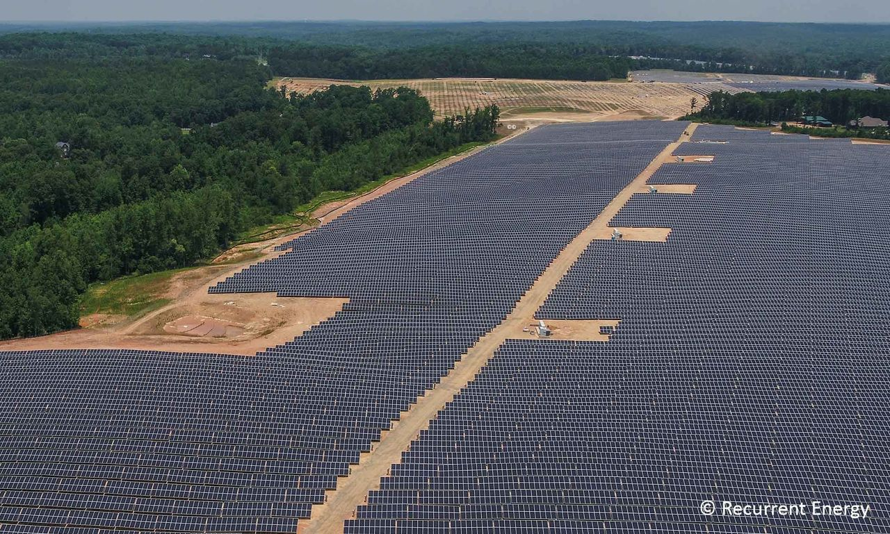 This solar site near Concord, N.C., was built by Recurrent Energy, Entergy Mississippi's partner in the planned 100 MW site in Sunflower County.