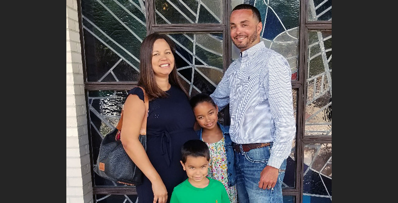 Pictured is Thomas Roque, a lighting salesman for Entergy in Louisiana, his wife Anna and their children Sydney and Thomas III.