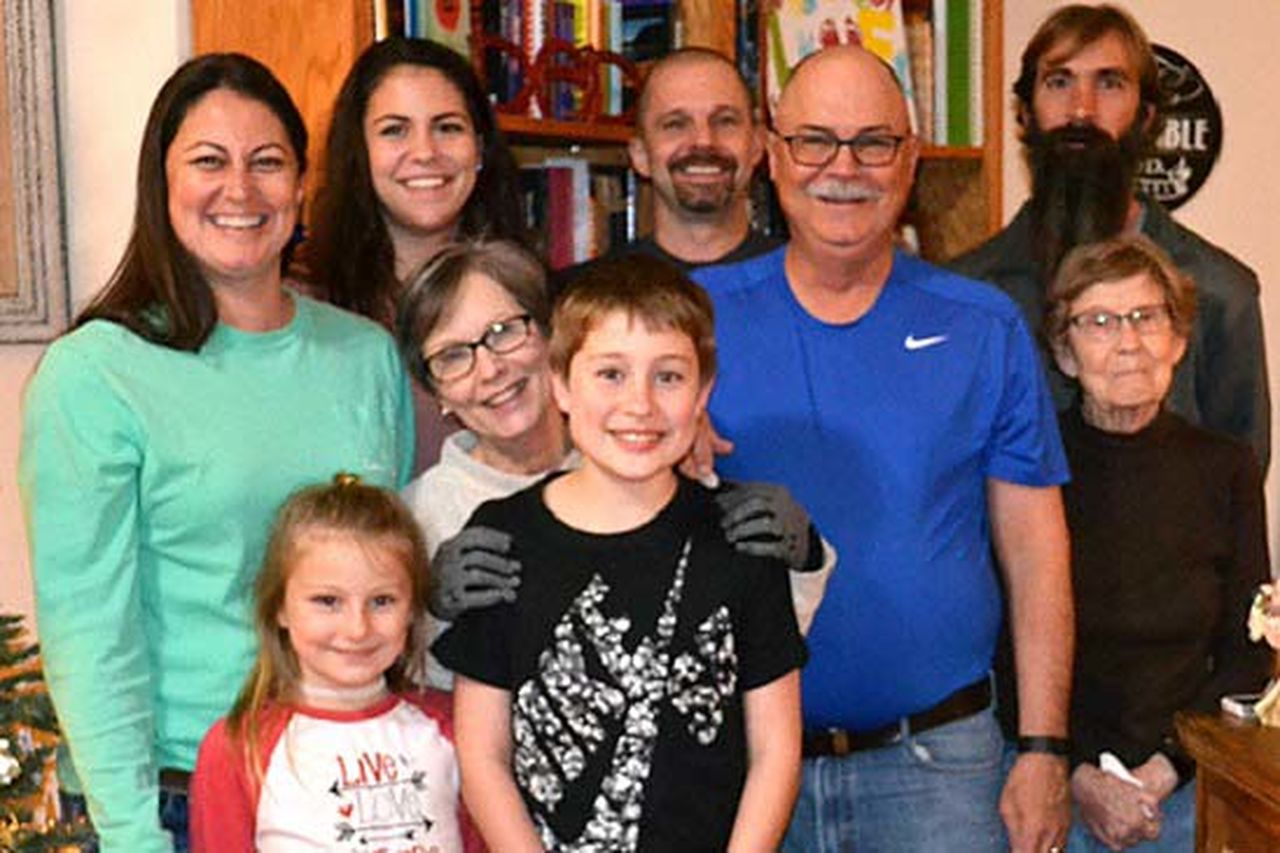 Stephen with his wife, Teri; mother-in-law, Betty; daughter, Becca; granddaughter, Laura; son, Nicholas; son-in-law, Mark; and grandchildren, Kadence and Riley.