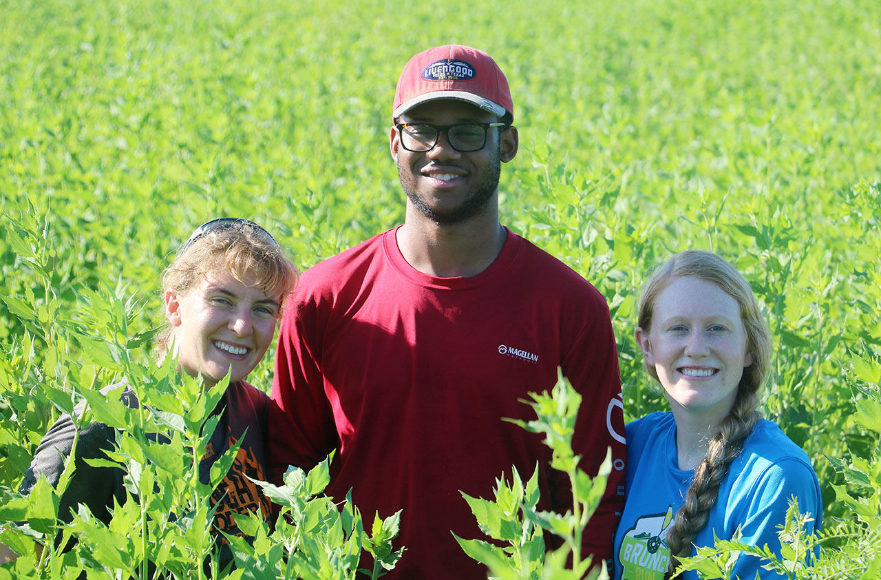 Interns worked this past summer at Trinity River Wildlife Refuge in East Texas. They were (from left) Theresa Edwards, Andrew Miller and Devon Eldridge.