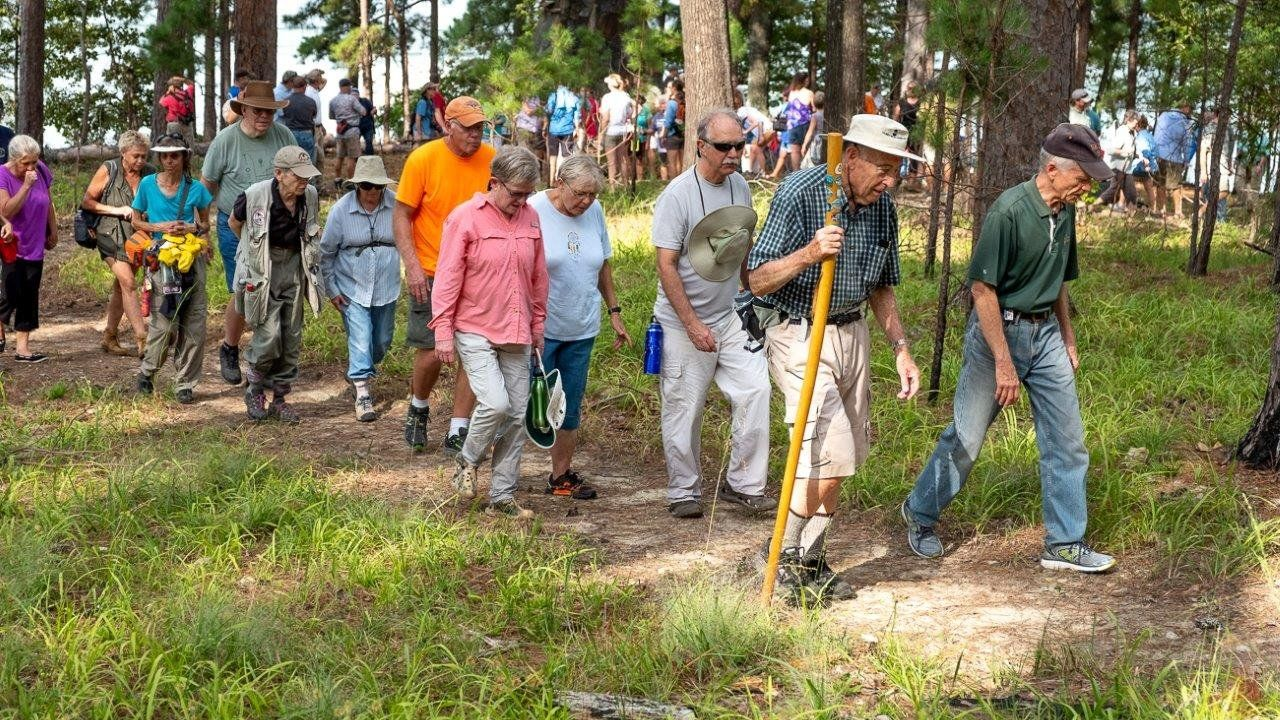 An enthusiastic crowd of nature lovers and project supporters attended the dedication of the new trail on Electric Island on Sept. 21.