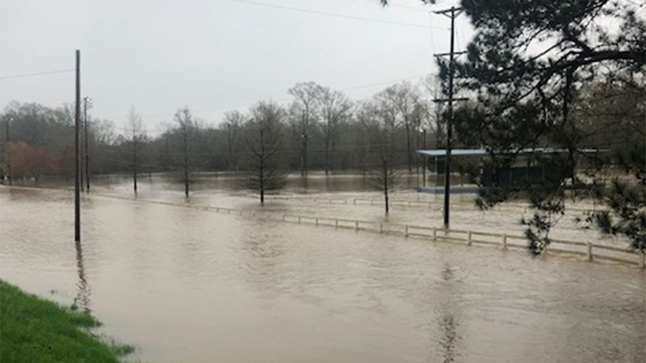 Flooding near Georgetown, Mississippi on February 19, 2020.