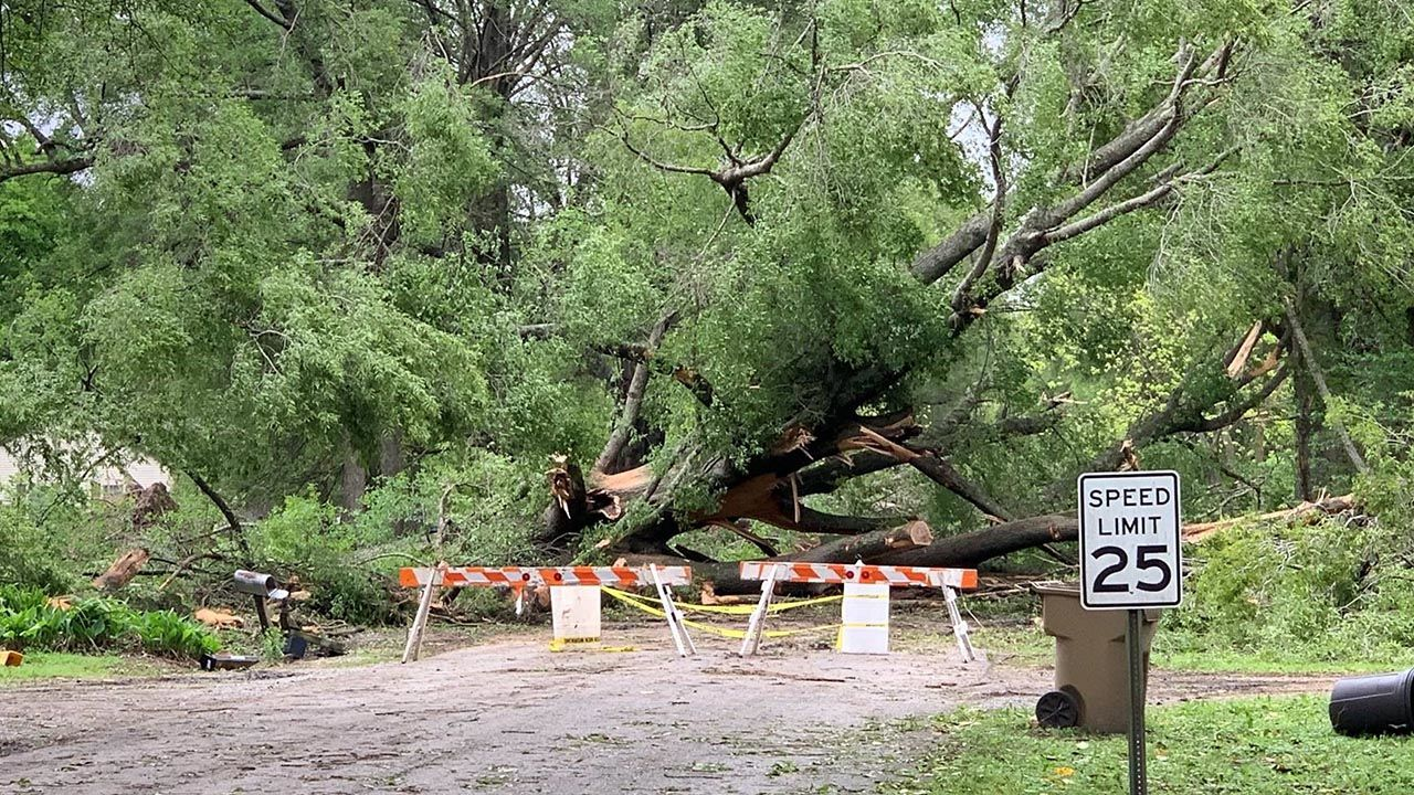 Storm damage in Cleveland on Memorial Drive near Laughlin Road.