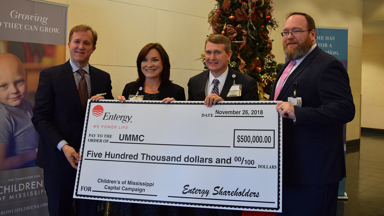 Haley Fisackerly, Entergy Mississippi President and CEO, presented a contribution for the Campaign for Children's of Mississippi to UMMC representatives Dr. Mary Taylor,  Guy Giesecke and Jonathan Wilson on Monday, Nov. 26, 2018.