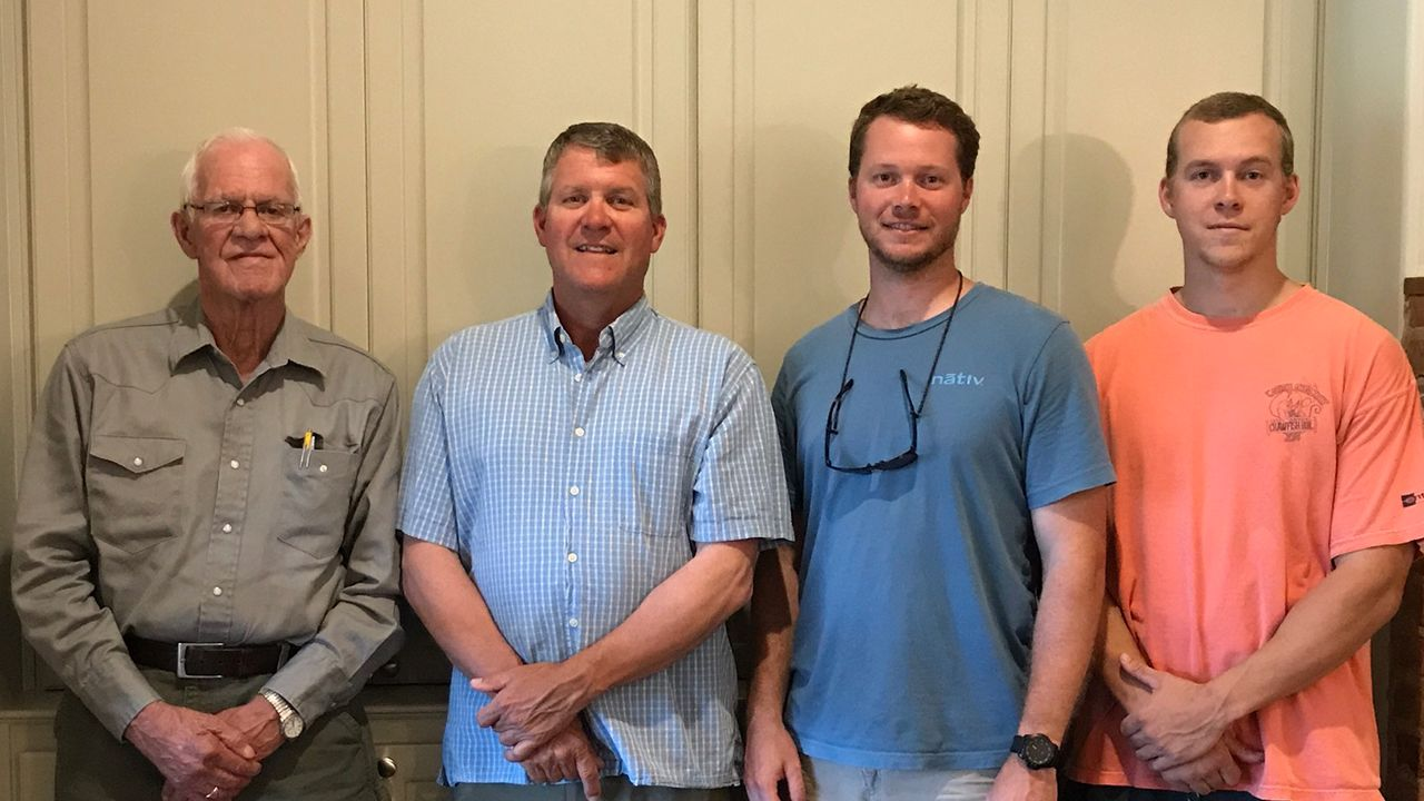 Bill Vaughan with son William Vaughan and grandsons Will Vaughan and Tyler Vaughan, all of whom are part of the Entergy family.