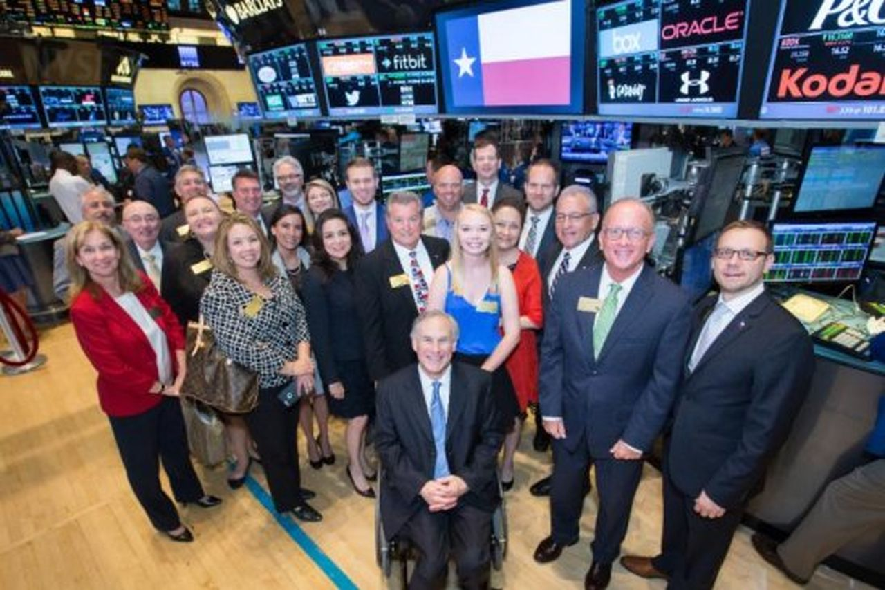 Members of the TexasOne delegation pictured on the floor of the New York Stock Exchange. On July 14, Gov. Abbott rang the NYSE bell to open trading.