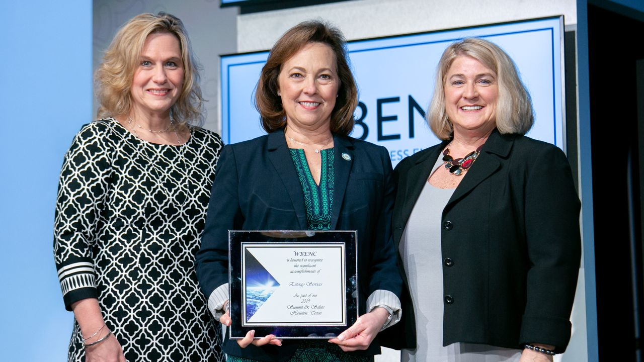 From left to right: Barbara Kubicki-Hicks (board chair, senior vice president, Procurement Services Executive Bank of America), Sallie Rainer and Pam Prince-Easton (ex-officio, president and CEO WBENC).