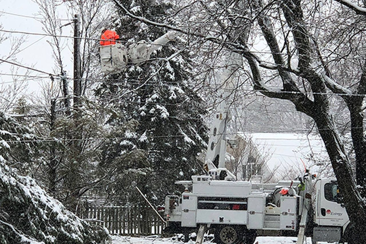 Entergy crews working as part of mutual assistance to restore power in Pennsylvania following winter storms in March.