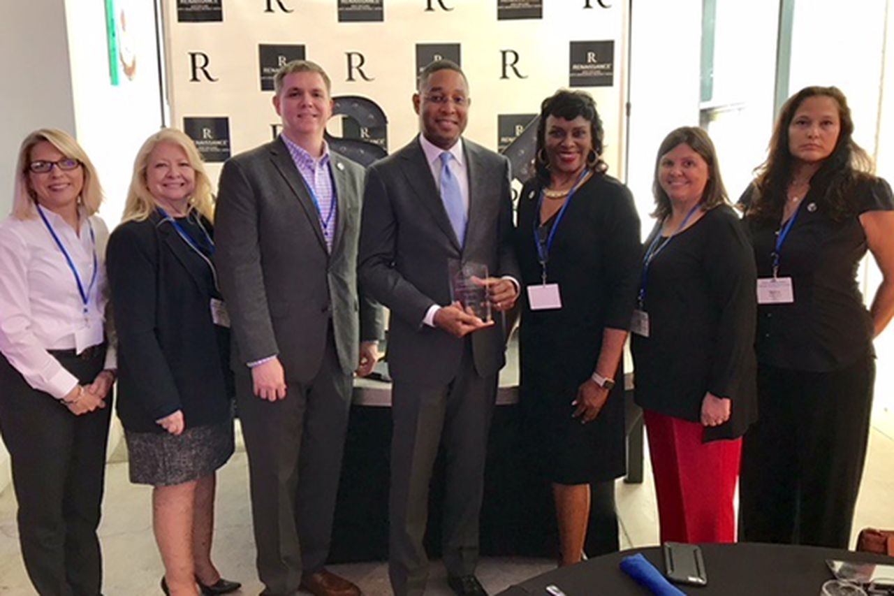 Pictured left to right: Amy Borrell, Deborah Estin, LSHRM Program Director Tim Kelle, Todd Manuel,  Louisiana SHRM Diversity Award Chair Karen Breaux, Kim Noel and Serena Resto.
