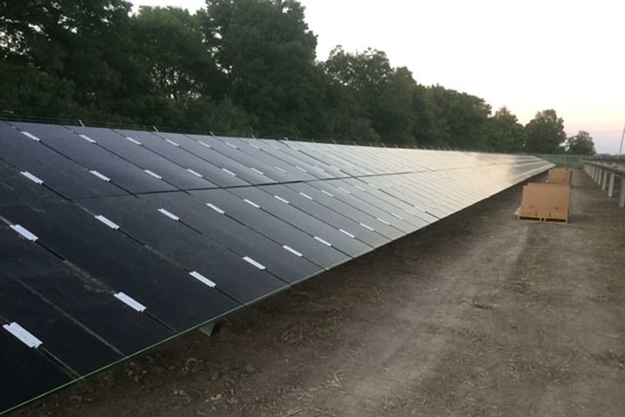 Solar panels are installed at the DeSoto County site