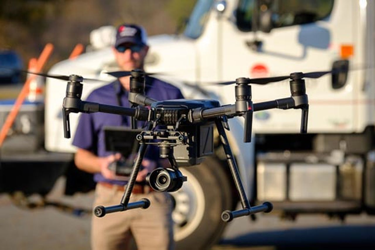 Entergy employee Eric Treadwell, a former US Army air traffic controller, is using a flying drone to improve reliability and control costs for customers.